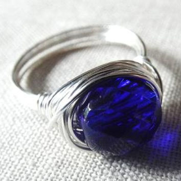 Blue glass ring - wire wrap ring - Czech bead ring - sapphire blue ring - dark blue ring - chunky ring - funky ring - gifts under 15