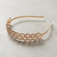 Double Leaf Gold Headband by Anthropologie Ivory One Size Hair