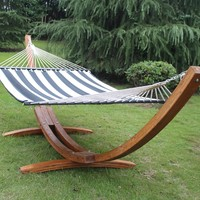 Sunnydaze Quilted Double Fabric Hammock w/ Spreader Bar-Navy
