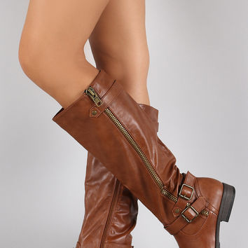 Bamboo Buckle Zipper Round Toe Riding Knee High Boots