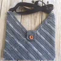 Medium Crocheted Masa Bag in Monochromatic Charcoal, Lined, Crochet Hobo Bag, Fall Fashion Bag, Crochet Shoulder Bag, Bohochic Slouch Bag