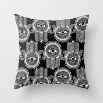 Hamsa Throw Pillow by Luna Portnoi