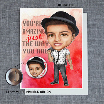 Bruno Mars Blank Card with Pinback Button