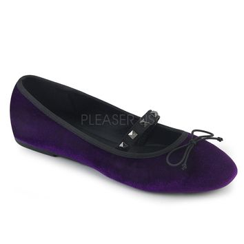 Demonia Purple Velvet Flats