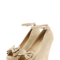 Kim Bow Trim Ankle Strap Wedge