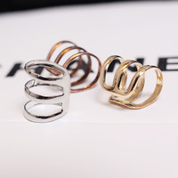 Punk Rock Ear Clip Cuff Wrap Earrings No piercing-Clip On,3 Colors,Silver Gold Bronze [9791251151]