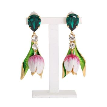 Dolce & Gabbana Gold Brass White Tulip Crystal Clip On Earrings