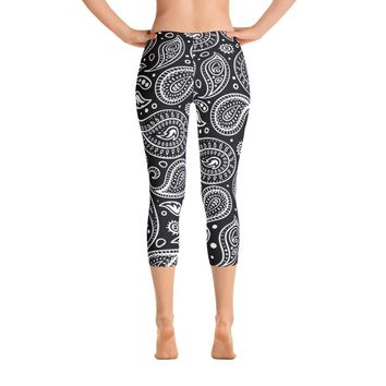 Womens Paisley Capri Leggings, Boho Black and White, Geometric Yoga Pants, Tights, Workout Clothes, Handmade Printed Leggings