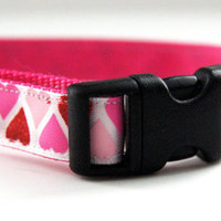 Pink Hearts Dog Collar Adjustable Sizes (XS, S, M)