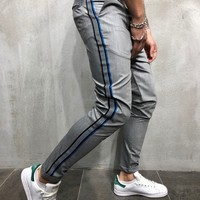 Ankle Roll-up Pants with Side Stripes - Gray