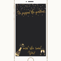 Bachelorette Party Snapchat Geofilter, Snapchat Filter, Poppin Bottles, He popped the Question, Proposal Geofilter