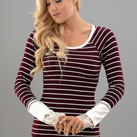 A Hint of Lace Top - Burgundy Stripes