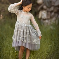Clementine Gray Bell Sleeve Lace & Tulle Dress