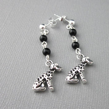 Dalmatian Dog Earrings Silver Black Onyx Two Sided Charm Sterling Post