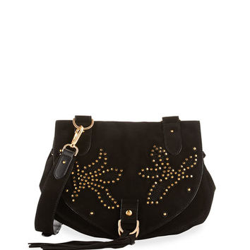 See by Chloe Collins Studded Suede Shoulder Bag, Black