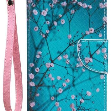 iPhone8 Wallet Case, iPhone7 Case, JanCalm [Card/Cash Slots] [Wrist Strap] PU Leather Wallet Cover Flip Cell Phone Cases for iPhone 7 / iPhone 8 + Crystal pen (Plum blossom Pattern)