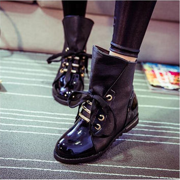 Women Boots Motorcycle Bota Autumn Winter Boots Leather Ankle Boots Women Shoes Martin Rain Botas Femininas zapatos#WSZ22
