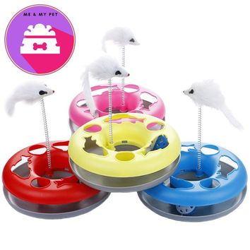 4 Colors New Spring Mice Crazy Amusement Multifunctional Disk Cat Toy Play Funny Activity Interactive Mouse Toys For Pet Cat