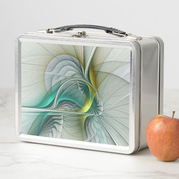 Fractal Evolution, Golden Turquoise Abstract Art Metal Lunch Box