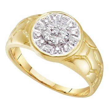 10kt Yellow Gold Men's Round Diamond Cluster Nugget Ring 1/8 Cttw - FREE Shipping (US/CAN)