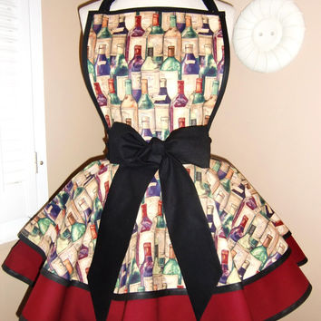 Wine Bottle Print Accented With Burgundy and Black Womans Retro Apron...Featuring Lace Trimmed Monogrammed Pocket