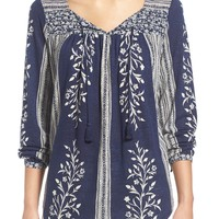 Lucky Brand Mixed Print Linen Blend Knit Top | Nordstrom