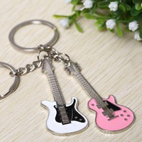 New Fashion Sweet Love pink white Music Guitar Keyrings Couples lover Key Chains men women keychain Valentine's Day Gift