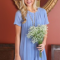 Perfect Pleats Dress-Periwinkle