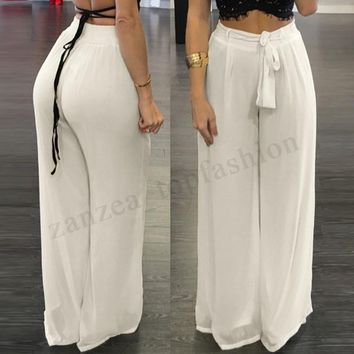 Women Wide Legs High Waist Long Pant Casual Solid Pantalon Palazzo Trousers Plus