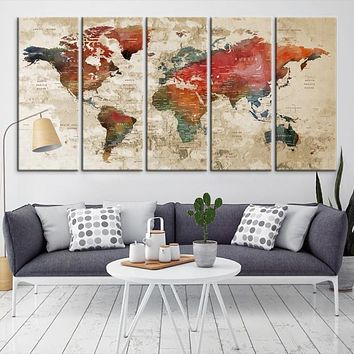 Large Wall Art World Map Canvas Print Custom World Map Push Pin Wall Art Custom World Map