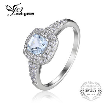 JewelryPalace Cushion Cut 0.9ct Natural Aquamarine Halo Engagement Ring 925  Sterling Silver Jewelry Engagement Rings 2e56dfd69