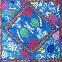 """16"""" Blue Cushion Pillow Throw Cover with Patchwork Embroidered"""
