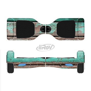 The Chipped Teal Paint On Wood Full-Body Skin Set for the Smart Drifting SuperCharged iiRov HoverBoard