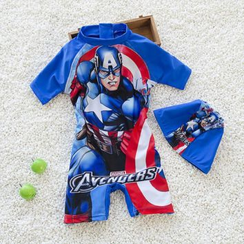 2018 NEW Child Swimwear Bathing Suit Batman Swimming Boys Superhero Series Kids Sport Beachwear One Piece Baby Swimsuit