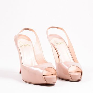 DCCK2 Christian Louboutin Nude Patent Leather No Prive 120mm Slingback Pumps