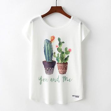 You And Me Cute Cactus Plant FLowy Loose T-Shirts