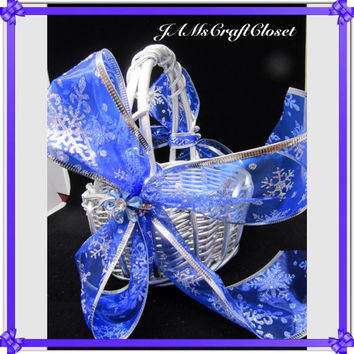 Vintage Round Silver Wicker Flower Girl Basket-Blue Snowflake Bows-Blue Crystal Accent Flowers-Wedding-Gift-Storage-Home Decor-Cottage Chic
