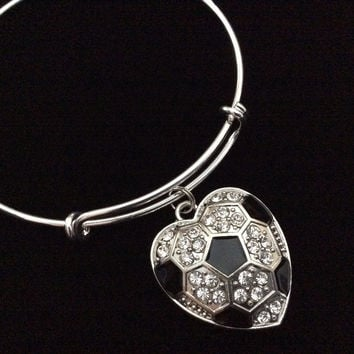 Crystal Heart Soccer Ball Charm Bangle Silver Expandable Wire Bracelet Adjustable Team Coach Gift