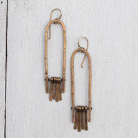 Arch and Brass Fringe Rustic Southwest Inspired Textured Dangle Earrings