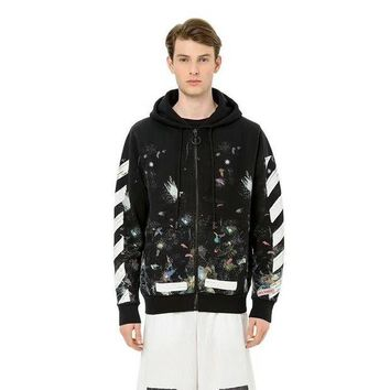 DKJN6 Off White Star Fireworks Inkjet Stripes Doodle Cardigan Hooded Sweater Round neck sweater Hooded sweater