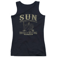 SUN RECORDS/ROCKABILLY BIRD - JUNIORS TANK TOP - BLACK -