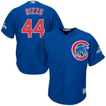 Men's Chicago Cubs Anthony Rizzo Majestic Royal Alternate 2016 World Series Champions Team Logo Patch Player Jersey