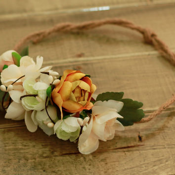 Fall Flower Crown- Gold and Cream Adjustable