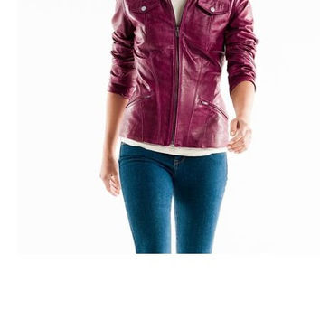 Handmade women purple leather jacket, with quality zipper, biker leather jacket, wome's jacket