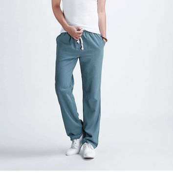 New Men's casual Pants supreme Male solid color linen casual trousers Stylish and comf