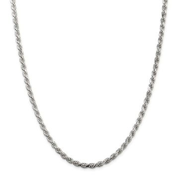 925 Sterling Silver 4.25mm Diamond-cut Rope Chain Necklace, Bracelet or Anklet