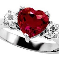 Star K 8mm Heart Shape Created Ruby Ring Sterling Silver