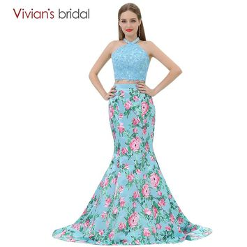 Mermaid Evening Dress Floral Print Formal Dress Two Piece Prom Dress Long