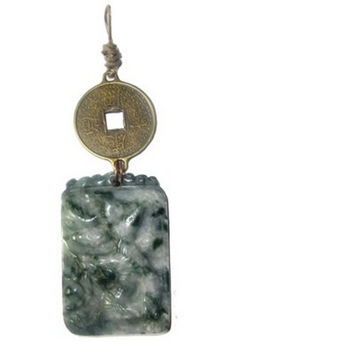 Jade Pendant 10 Animal Green White Dragon Carved Coin