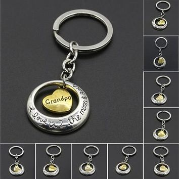 Silver Accessories Family Mom Daughter Sister Dad Heart Key Ring Chain Keyring Keychain Gift [8833394956]